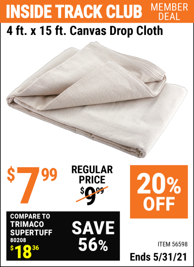 Harbor Freight Tools Coupons, Harbor Freight Coupon, HF Coupons-4 x 15 Canvas Drop Cloth