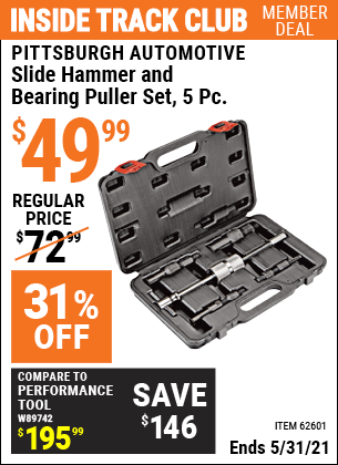 Harbor Freight Tools Coupons, Harbor Freight Coupon, HF Coupons-5 Piece Slide Hammer And Bearing Puller Set