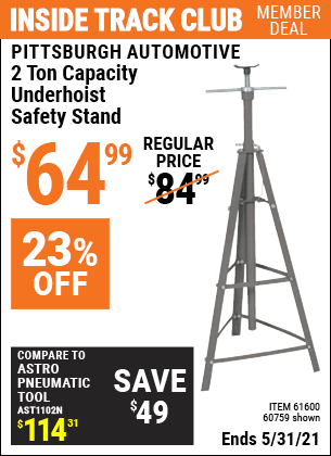 Harbor Freight Tools Coupons, Harbor Freight Coupon, HF Coupons-2 Ton Underhoist Safety Stand