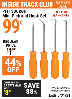 Harbor Freight Tools Coupons, Harbor Freight Coupon, HF Coupons-4 Pc. Pick And Hook Set