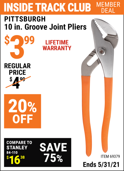 Harbor Freight Tools Coupons, Harbor Freight Coupon, HF Coupons-10 in. Groove Joint Pliers