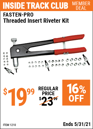 Harbor Freight Tools Coupons, Harbor Freight Coupon, HF Coupons-45 Piece Threaded Insert Riveter Kit
