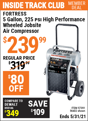 Harbor Freight Tools Coupons, Harbor Freight Coupon, HF Coupons-Fortress 5 Gallon 1.6 Hp High Performance Oil-free Air Compressor