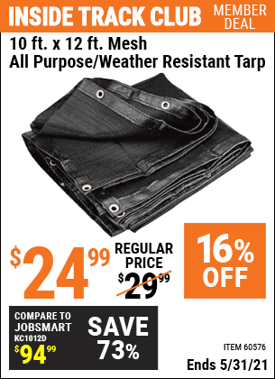 Harbor Freight Tools Coupons, Harbor Freight Coupon, HF Coupons-10 Ft. X 12 Ft. Mesh All Purpose Weather Resistant Tarp