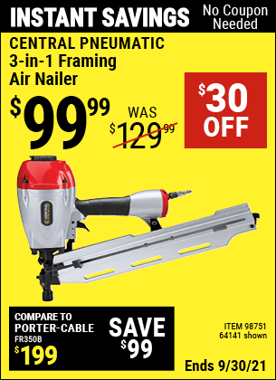 Harbor Freight Tools Coupons, Harbor Freight Coupon, HF Coupons-3-in-1 Framing Nailer