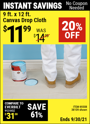 Harbor Freight Tools Coupons, Harbor Freight Coupon, HF Coupons-9 Ft. X 12 Ft. Canvas Drop Cloth