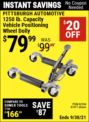 Harbor Freight Tools Coupons, Harbor Freight Coupon, HF Coupons-1250 Lb. Vehicle Positioning Dolly