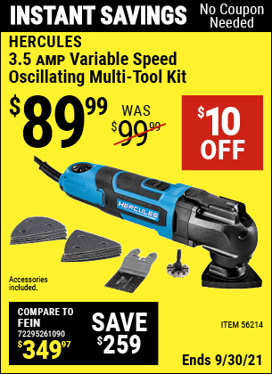 Harbor Freight Tools Coupons, Harbor Freight Coupon, HF Coupons-3.5 Amp Professional Variable Speed Multi-tool Kit