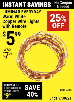 Harbor Freight Tools Coupons, Harbor Freight Coupon, HF Coupons-Warm White Copper Wire Lights with Remote