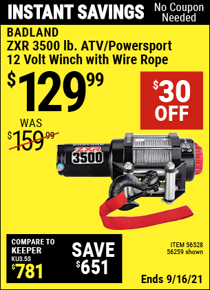 Harbor Freight Tools Coupons, Harbor Freight Coupon, HF Coupons-BADLAND ZXR 2500 LB. ATV/Utility Electric Winch with Wireless Remote Control