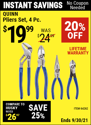 Harbor Freight Tools Coupons, Harbor Freight Coupon, HF Coupons-Quinn 4 Piece Pliers Set