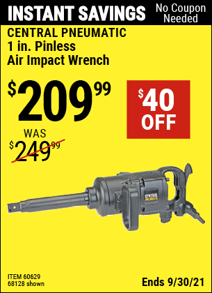 Harbor Freight Tools Coupons, Harbor Freight Coupon, HF Coupons-1 in. Pinless Air Impact Wrench