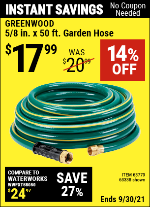 Harbor Freight Tools Coupons, Harbor Freight Coupon, HF Coupons-GREENWOOD 5/8 in. x 50 ft. Heavy Duty Garden Hose for $14.99