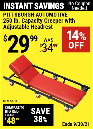 Harbor Freight Tools Coupons, Harbor Freight Coupon, HF Coupons-Heavy Duty Creeper With Adjustable Headrest