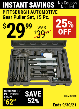 Harbor Freight Tools Coupons, Harbor Freight Coupon, HF Coupons-14 Piece Gear Puller Set