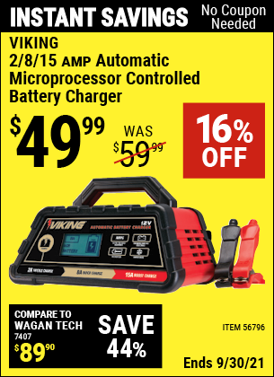 Harbor Freight Tools Coupons, Harbor Freight Coupon, HF Coupons-2/8/15 Amp Automatic Microprocessor Controlled Battery Charger