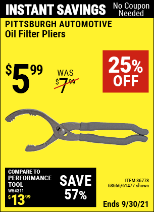 Harbor Freight Tools Coupons, Harbor Freight Coupon, HF Coupons-Oil Filter Pliers