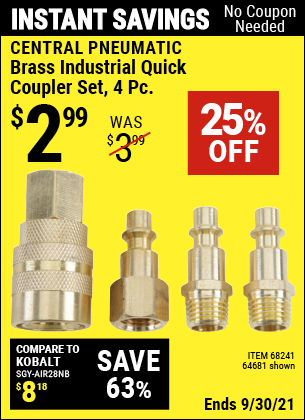 Harbor Freight Tools Coupons, Harbor Freight Coupon, HF Coupons-Central Pneumatic 4-piece Brass Industrial Quick Coupler Set
