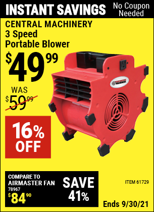 Harbor Freight Tools Coupons, Harbor Freight Coupon, HF Coupons-3 Speed Portable Blower