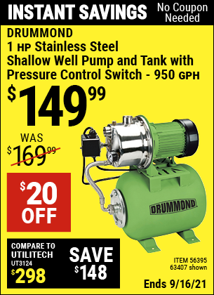 Harbor Freight Tools Coupons, Harbor Freight Coupon, HF Coupons-1 Hp Stainless Steel Shallow Well Pump And Tank
