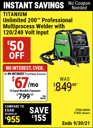 Harbor Freight Tools Coupons, Harbor Freight Coupon, HF Coupons-Titanium Unlimited 200 Professional Multiprocess Welder