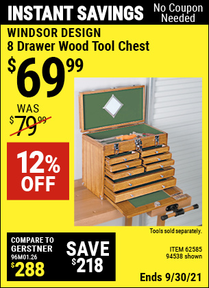 Harbor Freight Tools Coupons, Harbor Freight Coupon, HF Coupons-Eight Drawer Wood Tool Chest