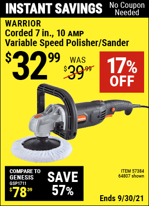 Harbor Freight Tools Coupons, Harbor Freight Coupon, HF Coupons-Corded 7 in. 10 Amp Variable Speed Polisher/Sander