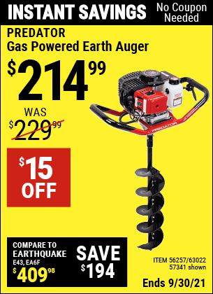 Harbor Freight Tools Coupons, Harbor Freight Coupon, HF Coupons-2 Hp Gas Powered Earth Auger With 6