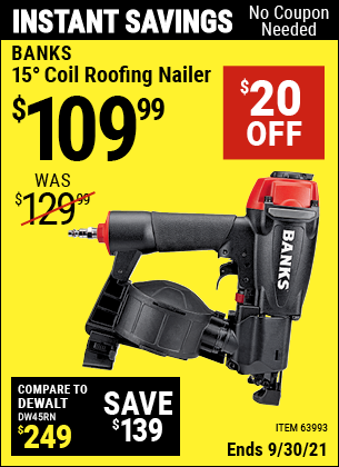 Harbor Freight Tools Coupons, Harbor Freight Coupon, HF Coupons-Banks 15deg. Coil Roofing Nailer