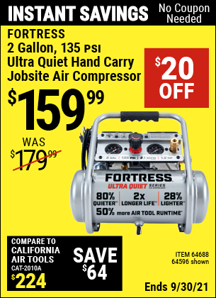 Harbor Freight Tools Coupons, Harbor Freight Coupon, HF Coupons-Fortress 2 Gallon, 1.2 Hp, 135 Psi Ultra-quiet, Oil-free Professional Air Compressor