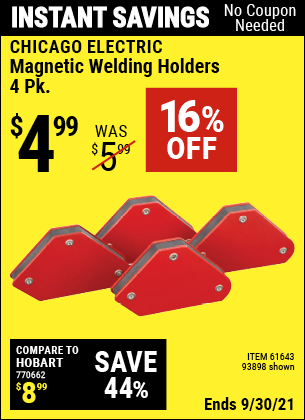 Harbor Freight Tools Coupons, Harbor Freight Coupon, HF Coupons-4 Piece Magnetic Welding Holders