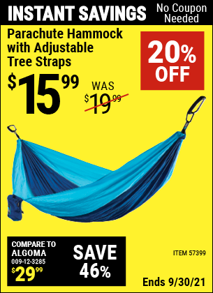 Harbor Freight Tools Coupons, Harbor Freight Coupon, HF Coupons-Parachute Hammock with Adjustable Tree Straps