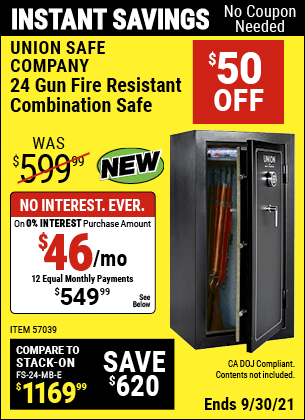 Harbor Freight Tools Coupons, Harbor Freight Coupon, HF Coupons-24 Gun Fire Resistant Combination Safe