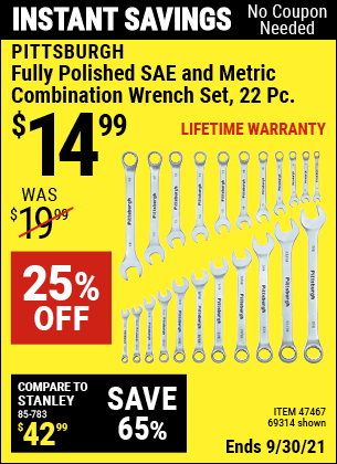 Harbor Freight Tools Coupons, Harbor Freight Coupon, HF Coupons-22 Piece Fully Polished Sae & Metric Combination Wrench Set