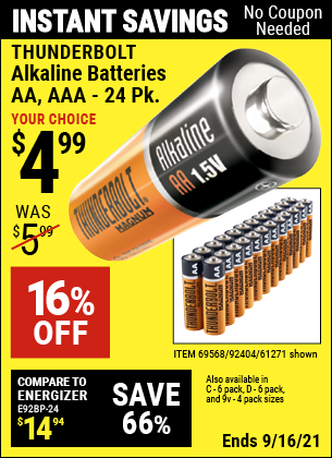 Harbor Freight Tools Coupons, Harbor Freight Coupon, HF Coupons-Thunderbolt Magnum Alkaline Batteries Aa, Aaa - 24 Pk