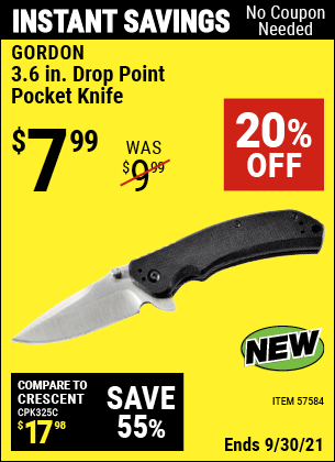 Harbor Freight Tools Coupons, Harbor Freight Coupon, HF Coupons-3.6 in. Drop Point Pocket Knife