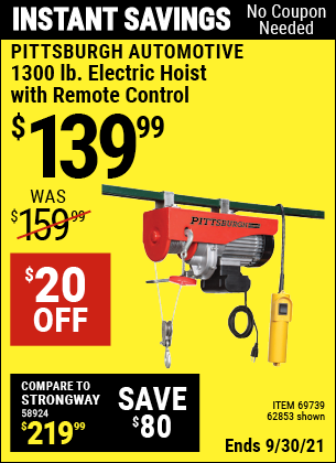 Harbor Freight Tools Coupons, Harbor Freight Coupon, HF Coupons-1300 Lb. Capacity Electric Hoist With Remote Control