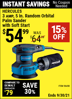Harbor Freight Tools Coupons, Harbor Freight Coupon, HF Coupons-3  Amp Corded 5 in. Variable Speed Random Orbital Sander