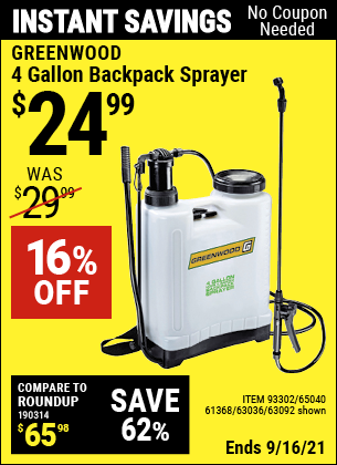 Harbor Freight Tools Coupons, Harbor Freight Coupon, HF Coupons-GREENWOOD 4 gallon Backpack Sprayer for $19.99