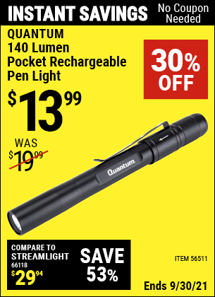 Harbor Freight Tools Coupons, Harbor Freight Coupon, HF Coupons-140 Lumen Pocket Rechargeable Pen Light