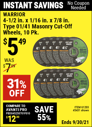 Harbor Freight Tools Coupons, Harbor Freight Coupon, HF Coupons-10 Piece 4-1/2