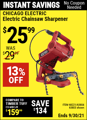 Harbor Freight Tools Coupons, Harbor Freight Coupon, HF Coupons-Electric Chain Saw Sharpener