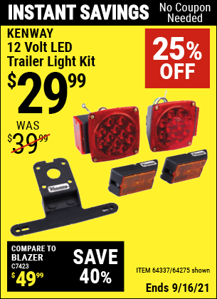 Harbor Freight Tools Coupons, Harbor Freight Coupon, HF Coupons-12 Volt Led Trailer Light Kit