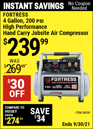 Harbor Freight Tools Coupons, Harbor Freight Coupon, HF Coupons-Fortress 4 Gallon, 1.5 Hp, 200 Psi Oil-free Professional Air Compressor