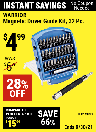 Harbor Freight Tools Coupons, Harbor Freight Coupon, HF Coupons-32 Piece Magnetic Driver Guide Kit