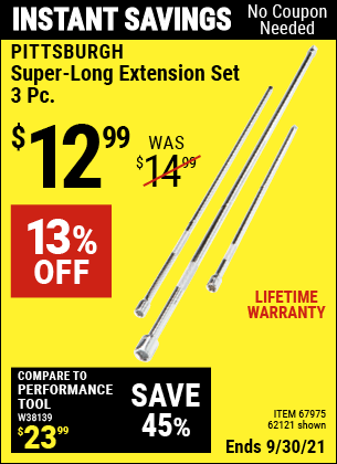 Harbor Freight Tools Coupons, Harbor Freight Coupon, HF Coupons-3 Piece Super-long Extension Set