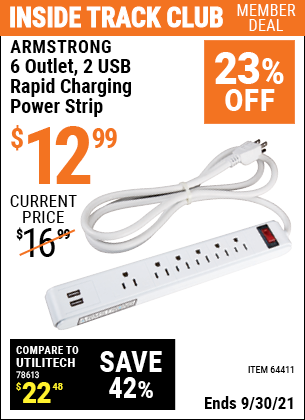 Harbor Freight Tools Coupons, Harbor Freight Coupon, HF Coupons-6 Outlet Power Strip With 2 Usb Ports