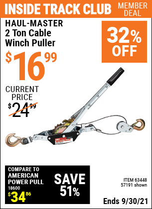 Harbor Freight Tools Coupons, Harbor Freight Coupon, HF Coupons-4000 Lb. Capacity Cable Winch Puller