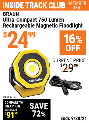 Harbor Freight Tools Coupons, Harbor Freight Coupon, HF Coupons-Ultra-Compact 750 Lumen Rechargeable Magnetic Floodlight