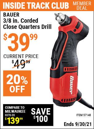 Harbor Freight Tools Coupons, Harbor Freight Coupon, HF Coupons-3/8 In. Corded Close Quarters Drill